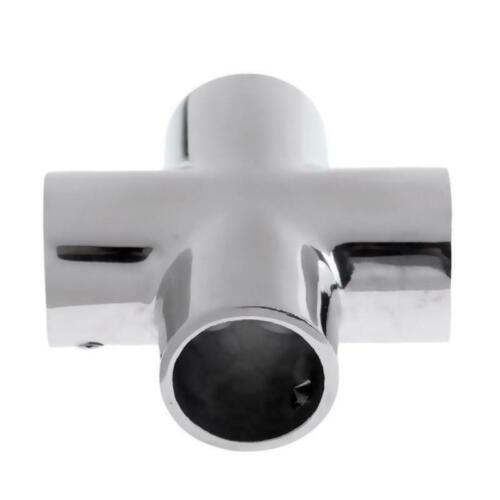 """316 Marine Stainless Steels US Boat Hand Rail Fittings 4 Way 1/"""" Tube 90 Degree"""