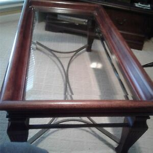 Details About 100 Wood Coffee Table Walnut Heavy Gl Top Wrought Iron Bottom