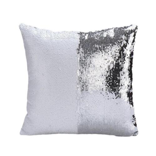 Fashion Mermaid Pillow Case Reversible Sequin Glitter Sofa Car Cushion Cover ONE