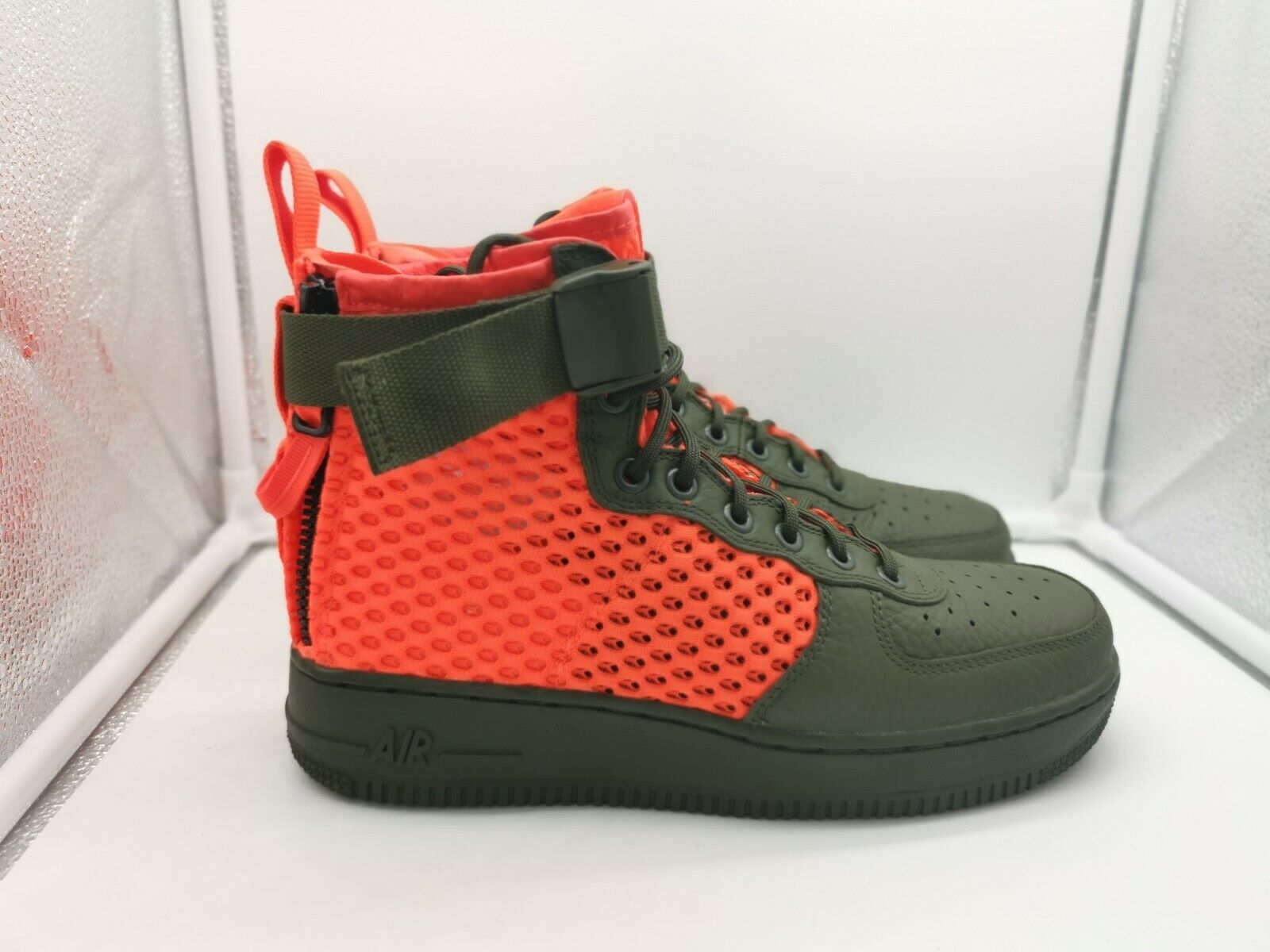 Nike Special Force Air Force 1 Mid QS UK 6 Cargo Khaki Total Crimson AA7345-300 Heißer verkauf
