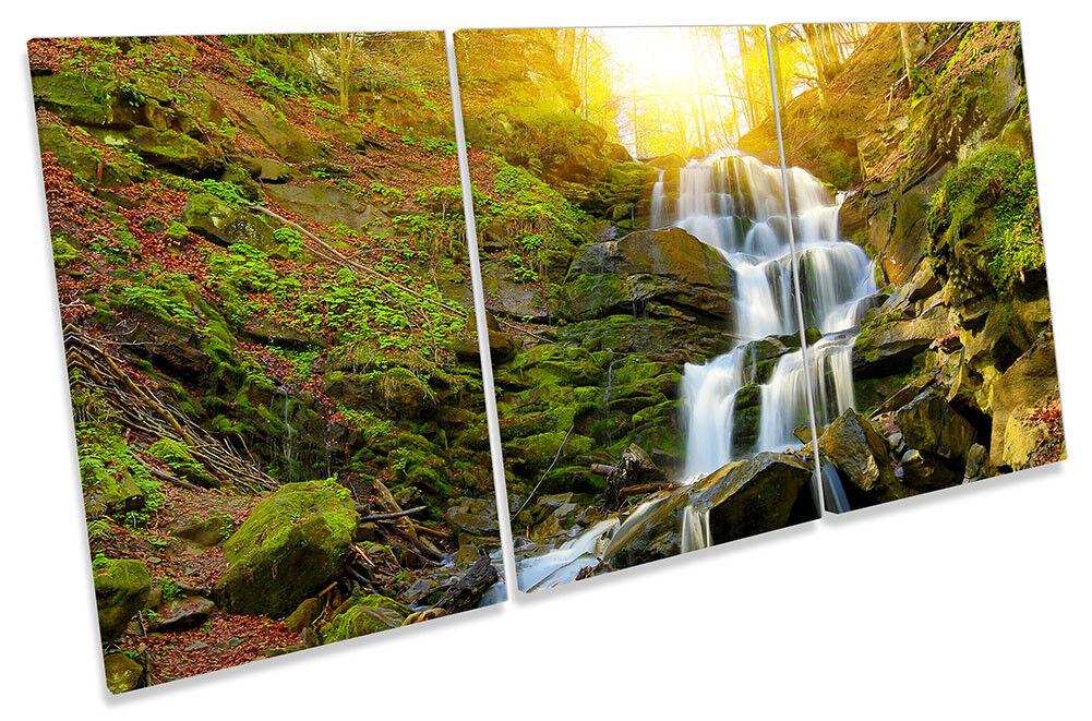 Sunset Forest Waterfall Bild CANVAS Wand Kunst TREBLE Drucken