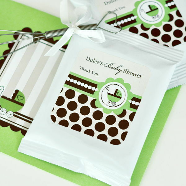 48 Personalized vert Gender Neutral Hot Cocoa Mix Pouches Baby Shower Favors