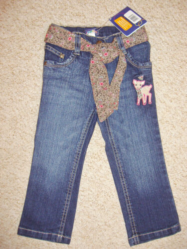 Girls cotton rich straight leg jeans with floral belt age 12-18 /& 18-24 months