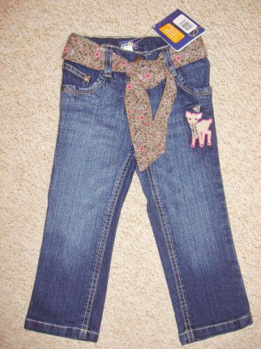 Jeans De Pierna Recta ricos y Niñas de Algodón con Cinturón Floral Edad 12-18 /& 18-24 meses