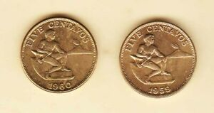 Philippines-5-centavos-1960-1959-2-coins-Uncirculated-light-tone-on-reverse