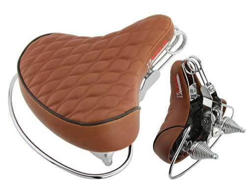 New Velo Cruisers Chopper Saddle Seat Diamond Web Spring Rear Guard Brown