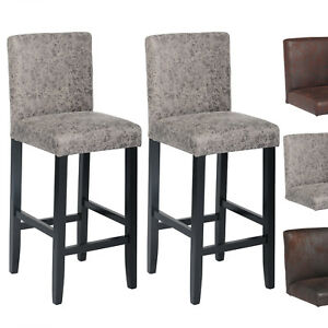 barhocker bistrohocker 2er set barstuhl antiklederoptik holz grau bh38gr 2 ebay. Black Bedroom Furniture Sets. Home Design Ideas