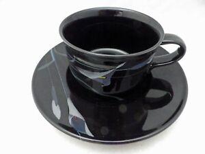 Mikasa-Galleria-Opus-Black-set-lot-of-4-Coffee-cups-amp-Saucers-2002-EUC