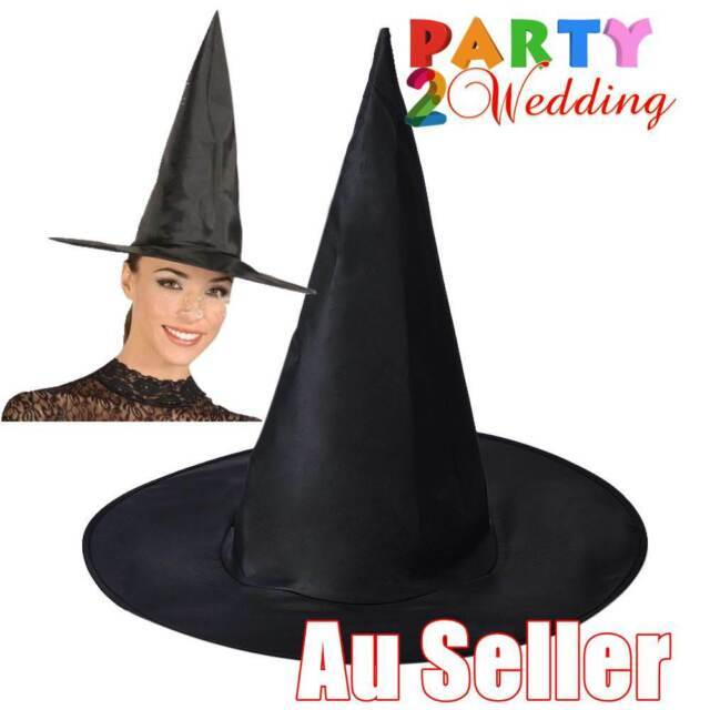 WITCH HAT Plain Black Halloween Costume Fancy Dress Women's Accessory Wizard New