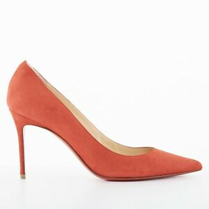 43e16bf3eb1 new CHRISTIAN LOUBOUTIN Decollete 85 red suede point pigalle pump ...