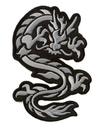 Patch Applikation Bestickt Patch Dragon Grau Mittelgroß Patch Abzeichen