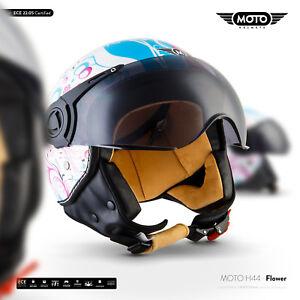 Bien Informé Moto H44-flower Vespa Scooter Jet Casque Moto-casque Visière Scooter Xs S M L Xl-afficher Le Titre D'origine Apparence Brillante Et Translucide