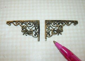 Miniature-Fancy-Antique-Gold-Wall-Brackets-2-DOLLHOUSE-Miniatures-1-12-Scale