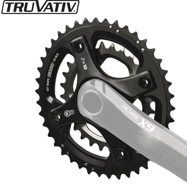 TruVativ Trushift 22t 64mm BCD 8 and 9 Speed and 2x10 Chainring Black Alloy