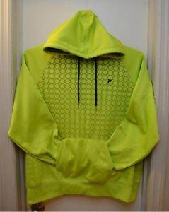 9550cc43084f FILA sport Neon Lime Yellow Pullover HOODIE Hex Sweatshirt Men's ...
