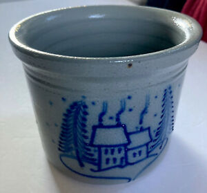 Vtg-1997-David-Eldreth-Pottery-Glazed-Stoneware-Crock-Winter-House-Scene