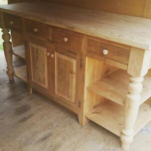 AMISH MADE RECLAIMED BARN WOOD UNFINISHED Kitchen Island Custom - Amish kitchen island