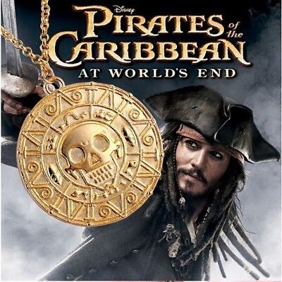 Pirates Of The Caribbean Jack Sparrow Pendant /& Chain Two Piece Set Gold Coin