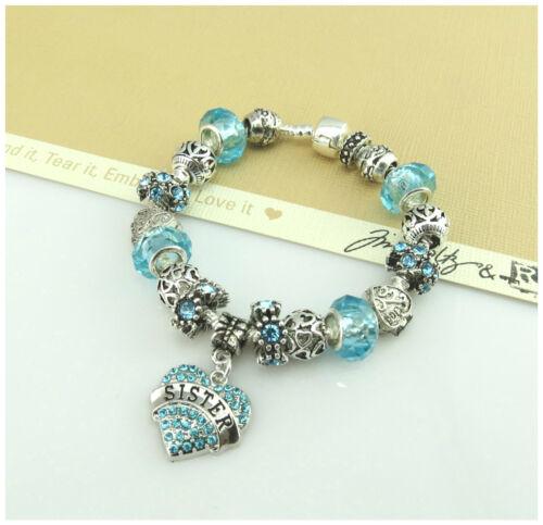 Plata 925 Plateado Turquesa encanto bracelet-birthday El Día De Madre Regalo Joyas