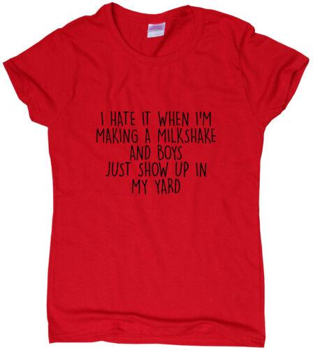 My Milkshake Brings The Boys funny T-shirts humour sarcastic top slogan ladies