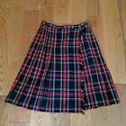 Vintage Century Boston Sz 16 Red Black Cream Wool Plaid Tartan Wrap Skirt Sz 16