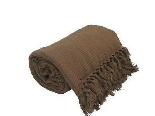 Bed Throw 230x254 LARGE Luxury BROWN 100/% Cotton Sofa