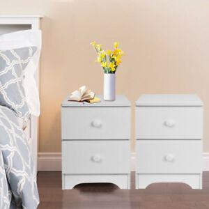 Set-of-2-Nightstand-End-Table-Bedroom-Bedside-Furniture-w-2-Drawer-Storage-Wood