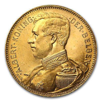 1914 Belgium Gold 20 Francs AU - SKU #29498