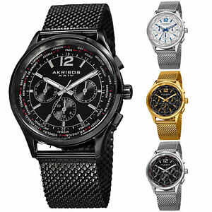 Men-039-s-Akribos-XXIV-AK716-Multifunction-Day-Date-Stainless-Steel-Mesh-Watch