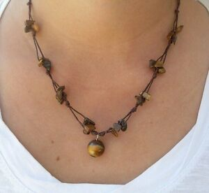 Fair-Trade-Tigers-Eye-Beaded-Waxed-Cotton-Pendant-NECKLACE-Thai-Jewelry