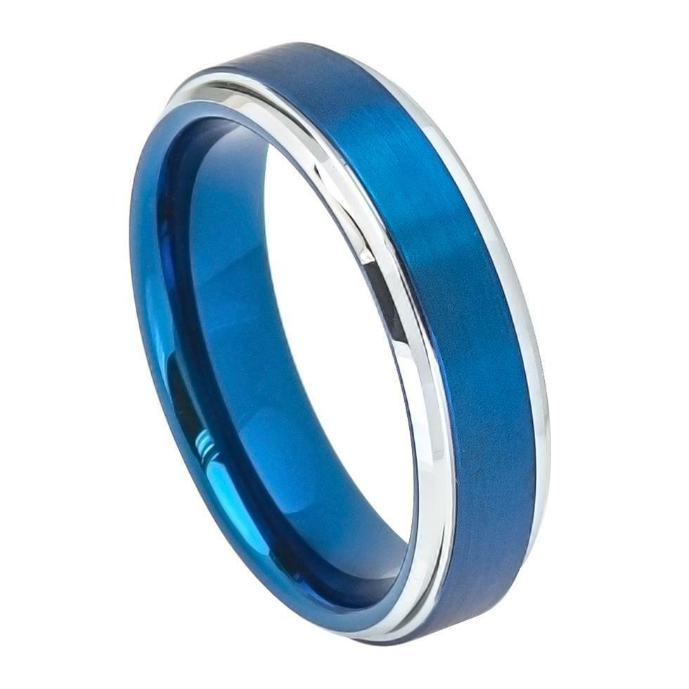 6mm Tungsten Ring, Personalized Engraved Two Tone Tungsten Wedding Ring