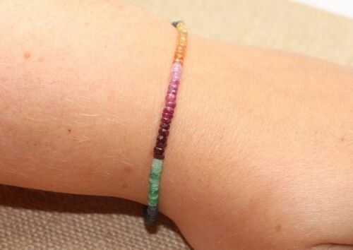 100/% Natural Sapphire,Ruby,Emerald Faceted Gemstone Beads Bracelet Silver Clasp.