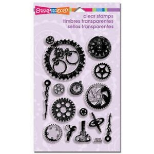 STAMPENDOUS RUBBER STAMPS CLEAR STEAMPUNK GEARS STAMP SET