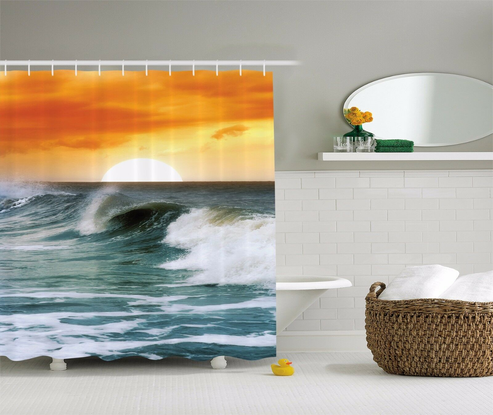 Ocean Waves Orange Sunset Surf Leisure Travel Shower Curtain Extra Long 84 Inch 5be54c