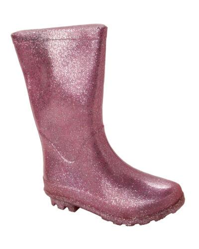 GIRLS GLITTER KNEE LENGTH WELLIES WELLINGTON RAIN SNOW BOOTS KIDS UK SIZE 13-5