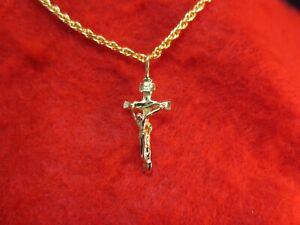 14-Kt-Oro-Cruz-Crucifijo-EP-1-1-8-034-encanto-colgante-con-una-cadena-de-cuerda-16-034-2056