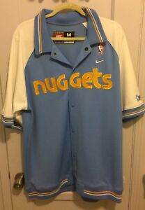 new concept 34662 7c7b0 Details about Denver Nuggets Warm Up Nba Shooting Shirt Jacket Jersey Men M  Sewn Nike Rewind