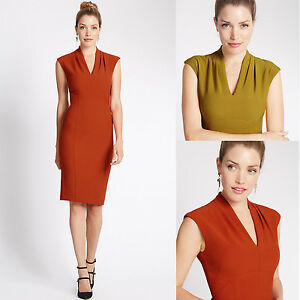 M-amp-S-Bodycon-V-Neck-Tulip-Dress-Coral-Red-Mustard-Yellow-Green-Marks-and-Spencer