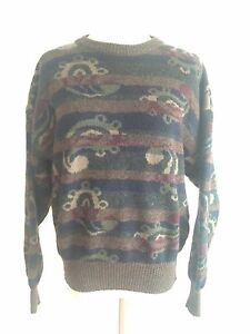 aa0d7237650397 Austin Reed Vintage Sweater Multi-color Stripes   Oversize Paisley ...
