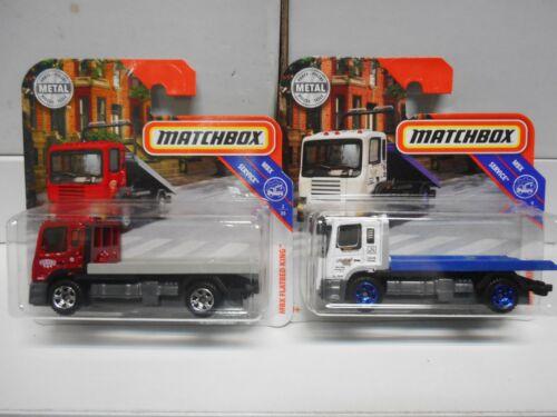 MBX FLATBED KING RED WHITE CAMION PLATAFORMA MATCHBOX