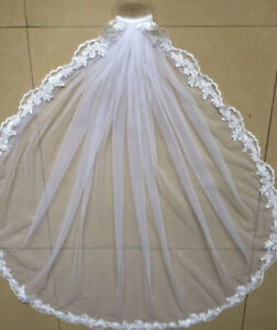 White-Ivory-Wedding-Veils-Bridal-Accessories-Veil-lace-Edge-With-Comb-Fingertip