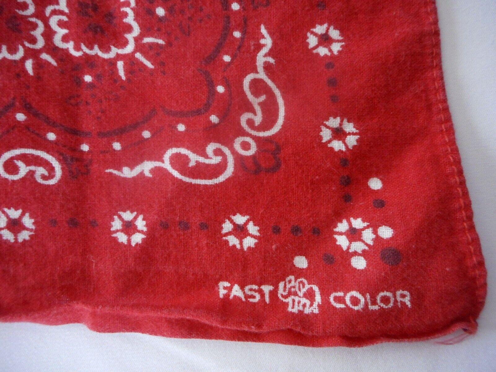 Rare Vintage Red Fast Color Trunk Up Bandana Old Time Workwear Cowboy Range Wear