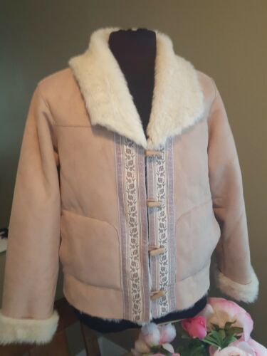 Stunning Coldwater Creek Ivory Suede Faux Fur Lined Hooded 34 Length Coat PetiteMedium Size PM