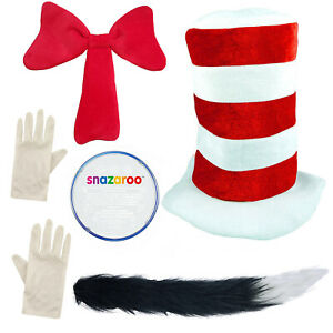 Ladies Cat In The Hat Costume Womens Dr Seuss Book Week Fancy Dress Adult Outfit