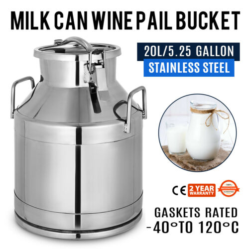 20L 5.25 Gallon Stainless Steel Milk Can Bucket Wine Pail Boiler Tote Jug