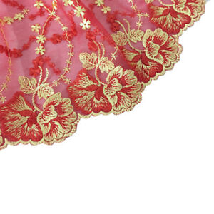 Lace-Ribbon-Trimming-Bridal-Wedding-Edge-Sewing-Craft-Gold-Red-Flower-Vintage