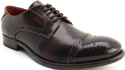 Base London Campbell Hi Shine Tan Leather Mens Formal Brogue Casual Shoes