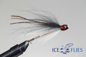 """Pick a size. ICE FLIES Tube fly Sunray shadow /""""Bismo/"""" White 3-pack"""