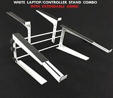 White Heavy Duty Studio Controller And Laptop Computer DJ Rack Stand Mount