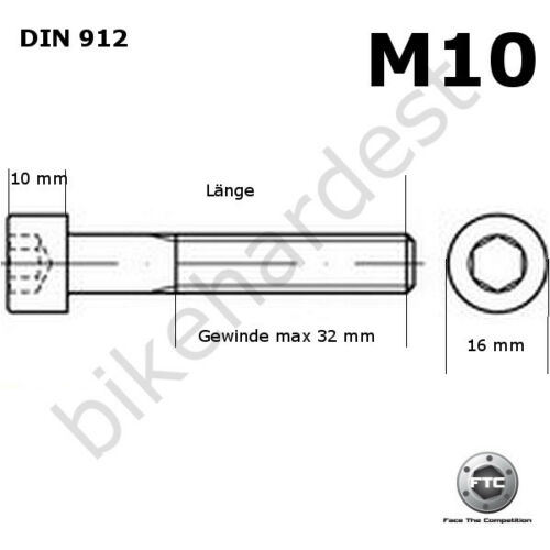 Vis en Titane M10 X 20-185 mm Conique Din 912 Grade 5